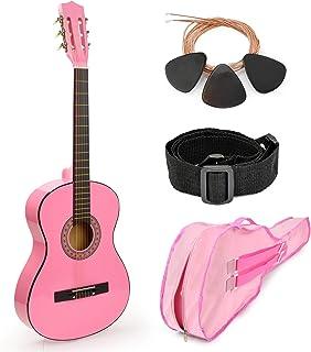 """全新! 76.20 cm 粉红色木吉他,配有盒子和配件,适合儿童/女孩,初学者 38"""""""