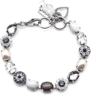 Mariana Zulu 施华洛世奇水晶银色手镯椭圆形深灰色透明马赛克与矿物石 M1080