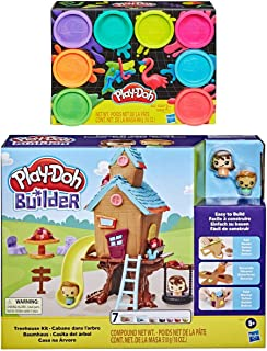Play Doh Builder 树屋玩具积木套装 + Play Doh 8 件装霓虹灯化合物