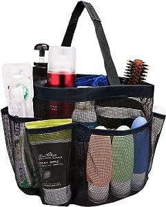 网眼淋浴架 - 快干 8 个口袋网眼便携式淋浴手提包带手柄,适合学院、宿舍、学校、运动、健身房、露营 黑色 HMSC
