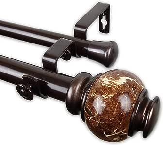 Rod Desyne 2.54 厘米手推单窗帘杆,青铜色 青铜色 28-48 inch 100-25-289-D