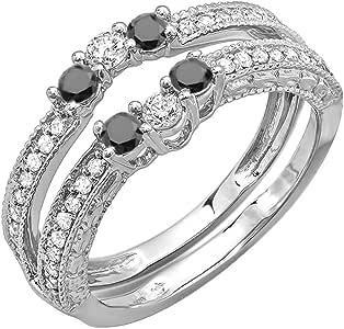 0.60 Carat (ctw) 14k White Gold Round Black And White Diamond Ladies Anniversary Wedding Band Enhancer Guard (Size 5.5)