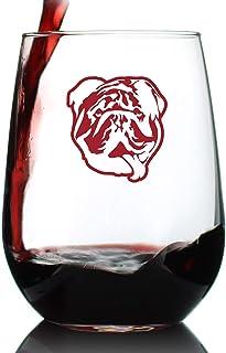 斗牛犬无柄酒杯 - 大号17盎司(约425.4毫升)玻璃杯 - 可爱的英国斗牛犬礼品和装饰 红色
