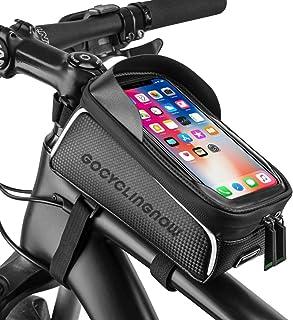 带触摸屏的自行车手机袋  易于安装自行车手机支架  优质防水自行车手机支架带钱包和钥匙存储空间  适用于小于 6.5 英寸的手机外壳
