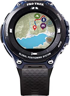 "Casio 卡西歐 男式""Pro Trek"" 戶外 GPS 樹脂運動手表,顏色:黑色和靛藍(型號 WSD-F20A-BUAAU)"