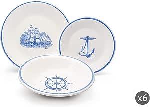 Excelsa Portobello 盘子服务,18件,陶瓷