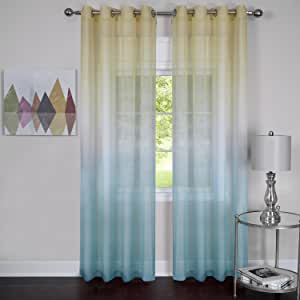 "Achim Home Furnishings Rainbow Grommet Window Curtain Panel, 52 by 84"", Blue"