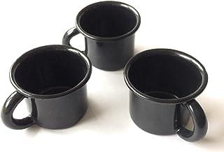 搪瓷咖啡杯套装或浓缩咖啡杯 3 件套(复古马克杯),每杯 3.5 盎司 黑色
