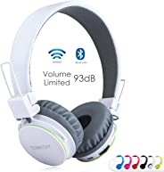 sodee 蓝牙无线/有线立体声 over-ear 高清耳机可折叠耳机带 SD 卡 FM 收音机 in-line 音量控制麦克风音乐儿童和成人 白色
