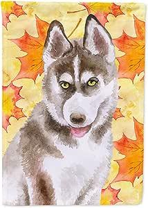 Caroline's Treasures BB9957GF Siberian Husky 灰色秋季装饰户外旗,花园尺寸,多色