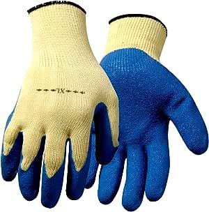 Steiner 工作手套,纹理蓝色乳胶涂层黄色细绳针织,12 件装 小号 1225SSTE-12