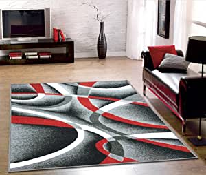 Lexington Home 防滑地毯防滑地毯厨房垫小地毯防滑地毯 防滑地毯 易护理低皮质,橡胶底凸纹 Modern Grey Red Infinite Lh10005 3' x 5'