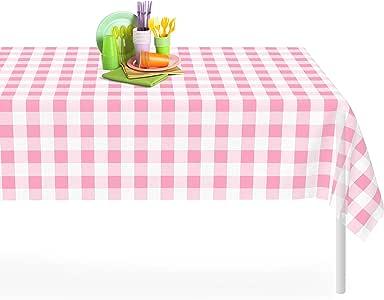 高级塑料桌布54inch. X 30.48cm 。 矩形桌布 dluxware 6–12只装 Pink Gingham 每包6条