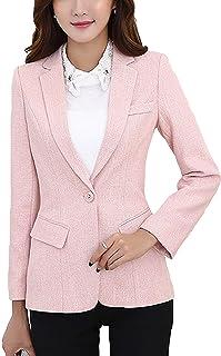 MFrannie 女士棉和亚麻麻花呢西装外套单扣办公室工作夹克