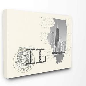 Stupell 家居装饰伊利诺伊州黑白照片奶油纸明信片艺术 多色 16 x 20 cw-1481_cn_16x20