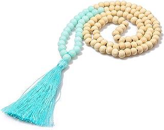COLORFUL BLING 手工制作 8 毫米半宝石串珠天然木玛拉珠长款流苏流苏吊坠项链女士男士祈祷藏珠宝