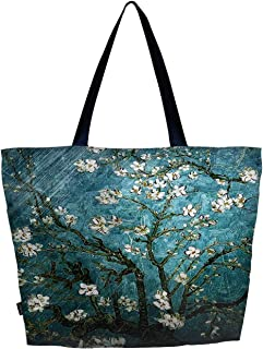 Meffort Inc 轻质旅行沙滩手提袋可折叠可重复使用购物单肩手提包 Van Gogh Almond 花朵 大