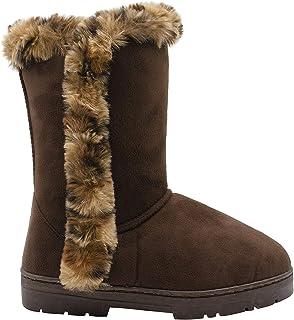 kensie 女式一脚蹬中高 9 英寸(约 22.9 厘米)仿麂皮冬季靴,带豹纹人造皮饰边