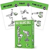 半平衡球练习卡,62 件套:用于家庭或健身房锻炼:大型闪存卡带 50 个稳定性练习,适合所有健身水平,甚至初学者:耐用和防水