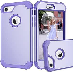 iPhone 7 手机壳,Beimu 高级防撞超薄 3 合 1 PC+硅胶防震混合高强度保护壳组合硬质软壳保护套适用于 iPhone 7 4.7 浅紫色