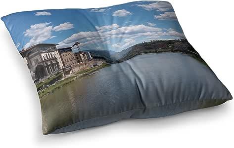 "KESS InHouse Nick Nareshni ""意大利的Canals Of Italy""蓝色旅行方形地板枕 多种颜色 23"" x 23"" NN1040ASF01"