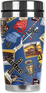 Mugzie Engineer Hats 旅行杯,带隔热潜水服套 蓝色 16盎司 1018-ZIE