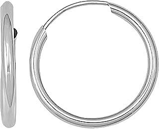 银河金色 14k 纯白金无限环状耳环永恒耳环 2 毫米标准/厚度,多种直径可选 - 指针 九月唇鼻子圆形环三角形耳钉 Helix 软骨