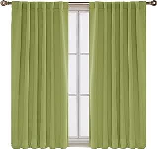 Deconovo 遮光窗帘后扣和杆套窗帘 2 片 石灰绿 52W x 63L Inch CT0346-1D