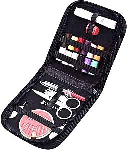 HOOMIL 缝纫套件,HOOMIL 迷你缝纫用品套装配件适合女孩初学者在家旅行和紧急使用 黑色 HOOMU3112