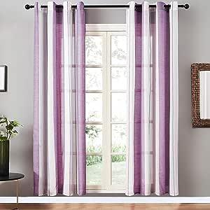 Top Finel 长薄纱窗帘适合儿童房间条纹索环窗帘,适用于卧室 C-紫色 Grommet|54'' x 84''