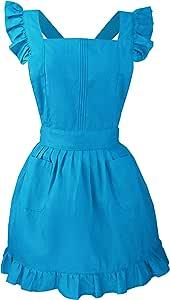 LilMents 复古可调节荷叶边围裙厨房烹饪烘焙清洁棉服装 蓝绿色 7Q1K