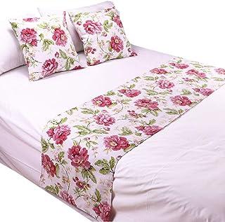 YIH 红花床上长巾 238.76 厘米 x 48.26 厘米和抱枕套套装,豪华装饰床上用品保护套床巾适用于卧室酒店婚房