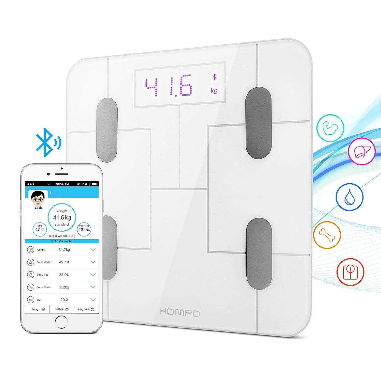 身体脂肪秤 hompo 蓝牙数码浴室比例智能无线身体分析仪比例与智能手机 APP & LED 显示屏指标 BMI 身体脂肪肌肉 Mass 水重量和骨头 Mass