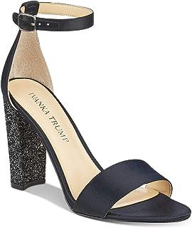 Ivanka Trump 女式 Emalyn 粗跟凉鞋 黑色缎面 9 M 美国