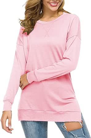RJXDLT 女式休闲长袖束腰上衣侧面开叉宽松软套头衫 1-粉色 Medium