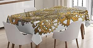 时钟装饰桌布带 ambesonne , A 图案带时钟 faces ON IT 复古插图装饰设计,餐厅厨房矩形桌布,黄黑色