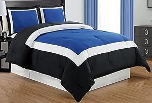 精致羽绒被套套装带枕套,拉丝超细纤维 - 奢华柔软,加大双人床和大号双人床,多色可选 *蓝/黑色 / 白色 King