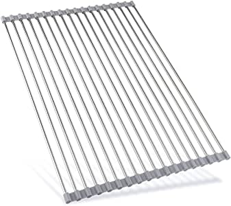卷盘晾干架-44.95 厘米(长)x 35.56 厘米(宽)-水槽盘晾干架宽 304 不锈钢洗碗架可折叠餐具,适用于厨房水槽柜 AHYUAN 暖灰色 AHHODACK018WGS6
