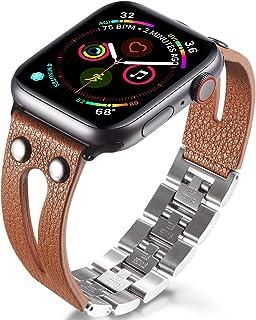 手工制作 手工艺表带 兼容Apple Watch 表带 全系列 简约手链 编织皮革表带 不锈钢 Qucik 释放 手工替换女士 42mm/44mm for Series 12345
