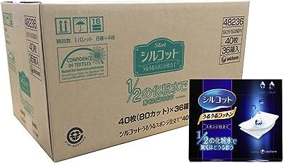 【量贩】 尤妮佳(Unicharm)化妆棉 40片×36个(化妆棉尺寸 70×58mm)
