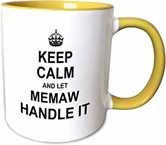 3drose inspirationzstore 名字设计–KEEP CALM and Let memaw handle IT 字样–有趣有趣奶奶祖母礼品–马克杯 黄色/白色 11-oz Two-Tone Yellow Mug