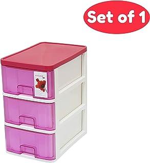 Macro Giant 塑料收纳盒 带 3 层抽屉,红色-白色,175 x 260 x 305毫米,文具存储,*配件存储,办公桌存储整理