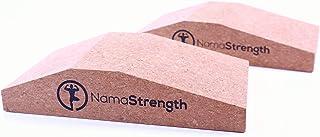 NamaStrength 瑜伽软木手腕坡跟 - 瑜伽手腕支撑和小腿升高块(2 件套)