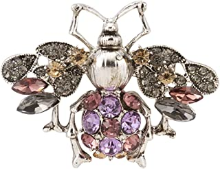 Knighthood Silver Bee 紫罗兰粉色香槟石铆钉翻领别针 男女适用 LP-46