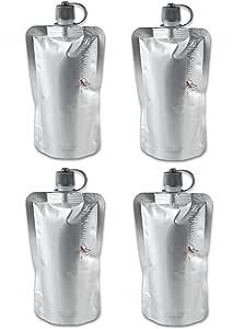 隐形酒瓶 - 可折叠,可重复使用,不易察觉,*无松软帽 - 每套 4 个 8 盎司,附赠漏斗 银色