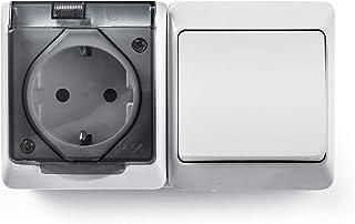 Famatel 5126 开关开关 + 插座插座插座,防水,外部,15 x 8.5 x 5厘米