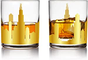 US Skylines 325ml 金色威士忌眼镜 芝加哥