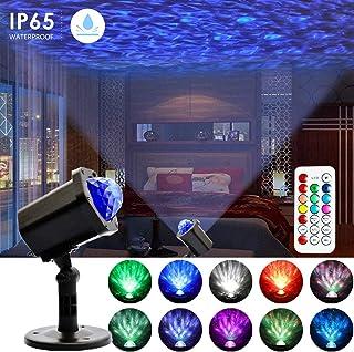 激光投影灯,Ganeed 海洋波浪夜灯投影仪,10 种颜色变化模式,户外防水装饰照明带遥控器,适用于卧室、花园、派对、迪斯科