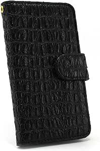 白色坚果鳄鱼图案手机保护壳翻盖式 黑 2_ Xperia Z1 f SO-02F Sony