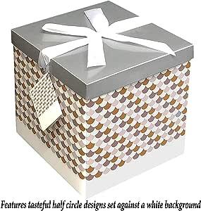 礼品盒 30.48x30.48 Sienna 系列 - 易于组装和重复使用 - 无需胶水 - 包括丝带、纸巾和礼品标签 - Endless Art 出品 EZ 礼品盒 银色 10X10 BX-102-0591